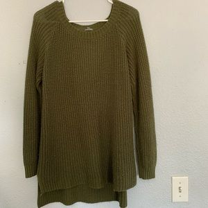 Olive green, long sweater, open back